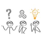 drei Strichmännchen - mit Fragezeichen, Zahnrädern und Glühbirne über den Köpfen