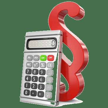 Taschenrechner vor rotem Paragraf